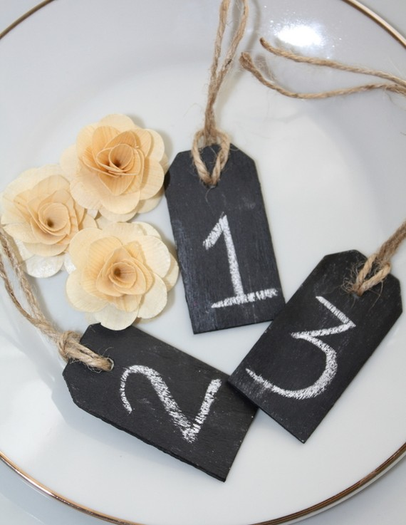 chalkboard black board wedding name tags