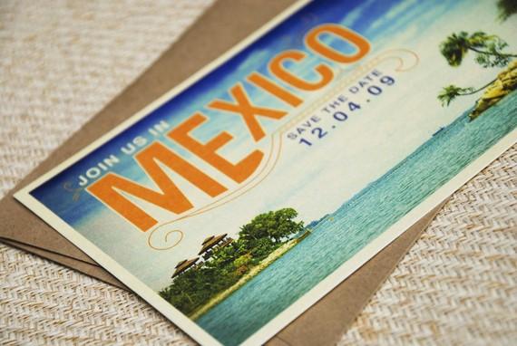 mexico vintage postcard wedding invitations
