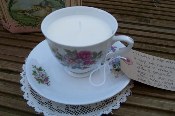 vintage tea cup and candle