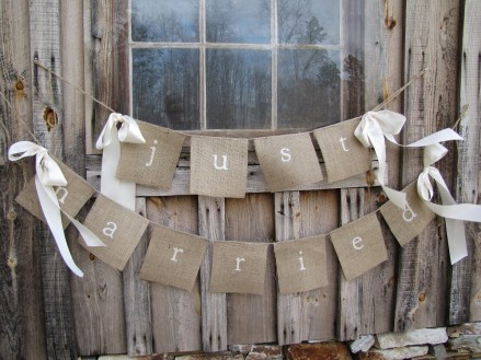just married wedding bunting rustic, hessian bunting, rustic wedding, country wedding,