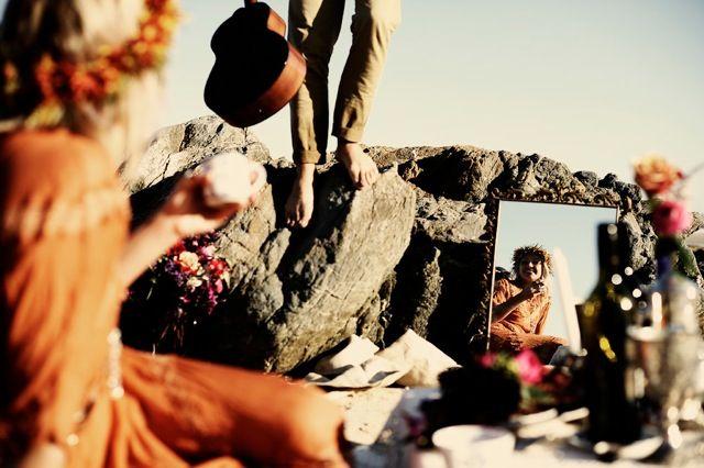 the lane event styling - bohemian love story wedding_burnt orange Bridesmaid dress shakuhachi