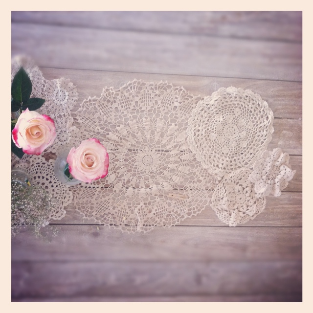 raw wood table doily table runner