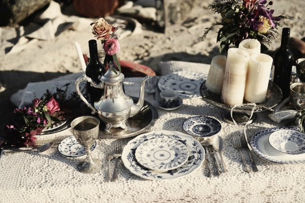 Bohemian Wedding, Blue Willow China, Beach Wedding Inspiration